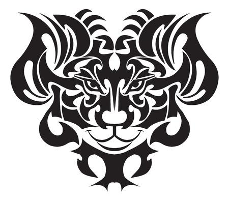 tattoo face: Lion face tattoo design, vintage engraved illustration.