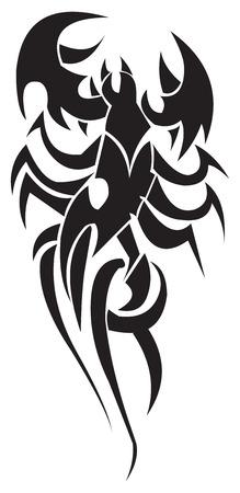 Tattoo design of stylized scorpion, vintage engraved illustration.