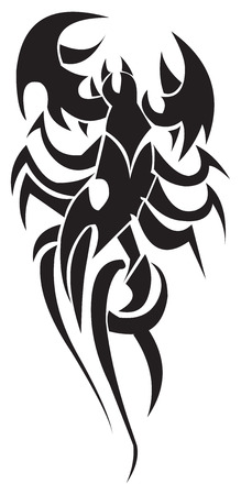 curve claw: Tattoo design of stylized scorpion, vintage engraved illustration.