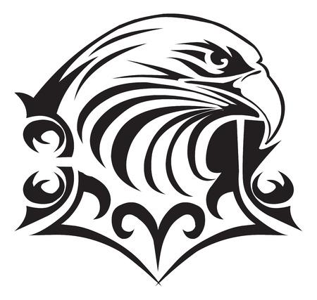 Tattoo design of eagle head, vintage engraved illustration.