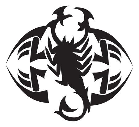 Tattoo design of scorpion, vintage engraved illustration. Vector