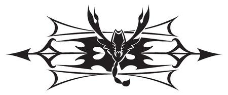 poison arrow: Tattoo design of scorpion with arrow mark, vintage engraved illustration. Illustration