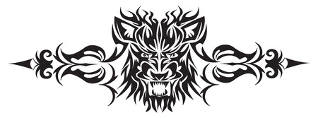 Tattoo ontwerp van de leeuw gezicht, vintage gegraveerde illustratie.