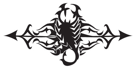 poison symbol: Tattoo design of scorpion, vintage engraved illustration.