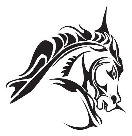 Tattoo ontwerp van het paard het hoofd, vintage gegraveerde illustratie.