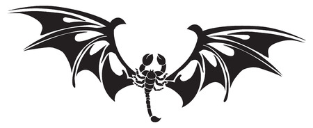 poison symbol: Tattoo design of scorpion with wings spread, vintage engraved illustration.