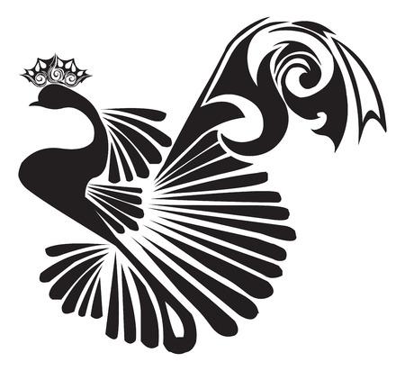 Tattoo design of a beautiful peacock, vintage engraved illustration. Illustration