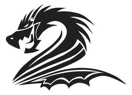 black and white dragon: Dragon tattoo design, vintage engraved illustration.