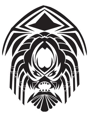 maschera tribale: Disegno del tatuaggio di maschera tribale, vintage illustrazione inciso. Vettoriali