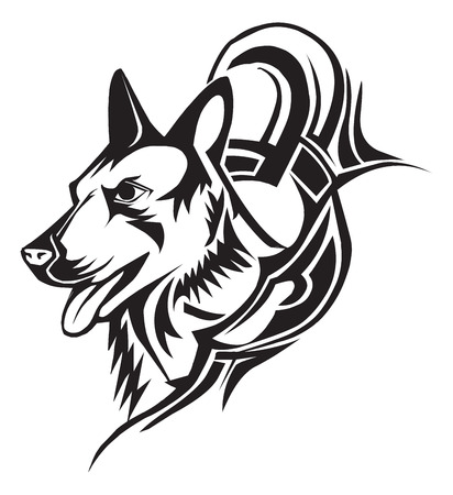 dog head: Tattoo design of dog, vintage engraved illustration.