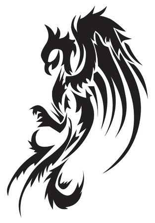 pajaro dibujo: Dise�o del tatuaje de Phoenix, ilustraci�n de la vendimia grabado.
