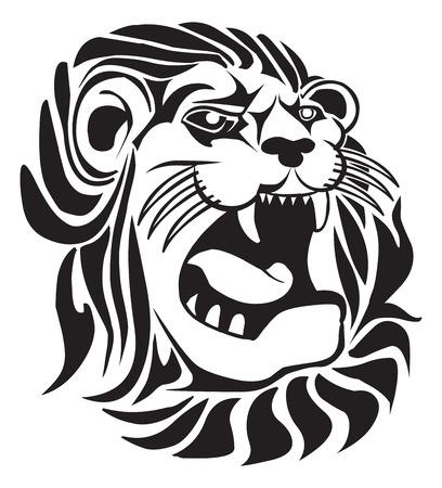 lion roar: Tattoo design of furious lion, vintage engraved illustration.