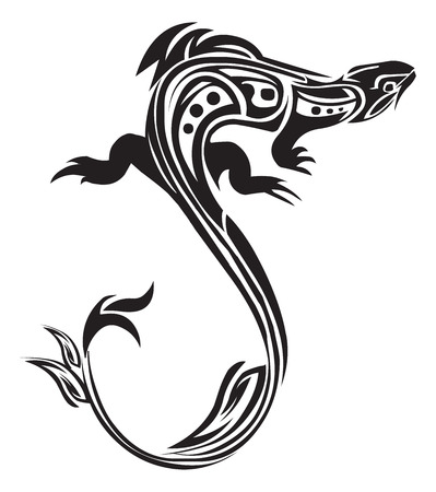 카멜레온의 문신 디자인, 빈티지 새겨진 그림.