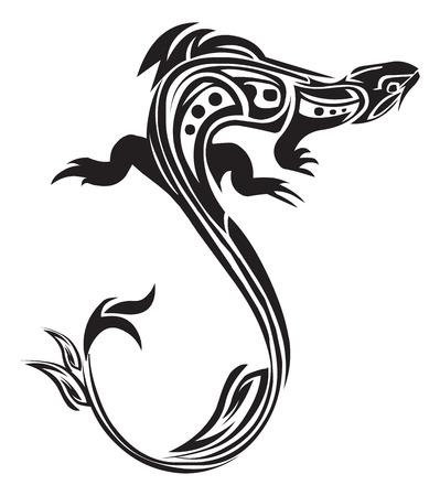 Tattoo design of chameleon, vintage engraved illustration.