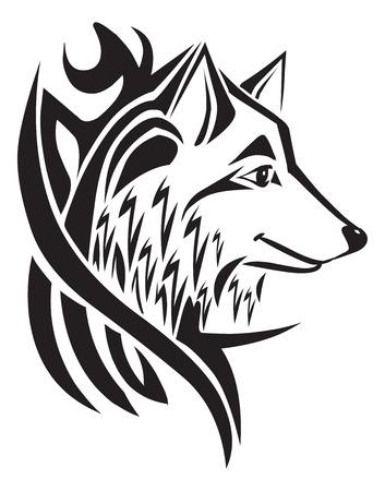 Tattoo design of wolf head, vintage engraved illustration. Ilustracja