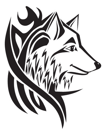 black wolf: Tattoo design of wolf head, vintage engraved illustration. Illustration