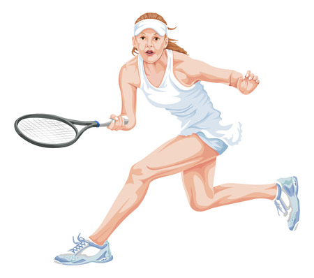 tennis shoes: Vector illustration of female tennis player in action.
