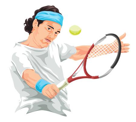hitting: Illustrazione vettoriale di giocatore di tennis che colpisce il rovescio colpo. Vettoriali