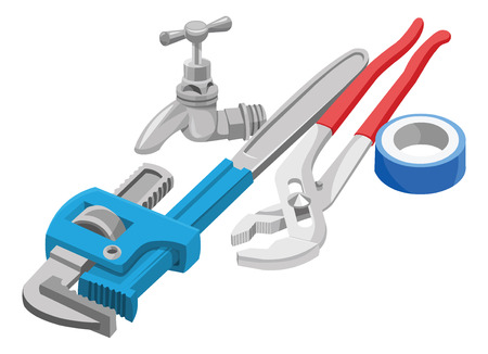 plumbing repair: Vector illustration of wrench, tap and adhesive tape on white background.