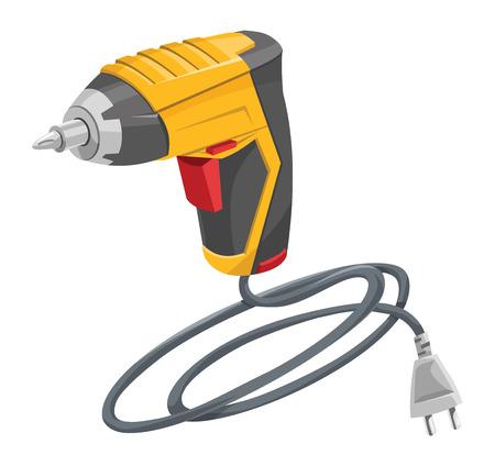 carpentry cartoon: Vector illustration of electric drill machine. Illustration