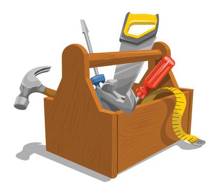 Illustrazione vettoriale di cassetta degli attrezzi in legno con strumenti di riparazione. Archivio Fotografico - 37602086