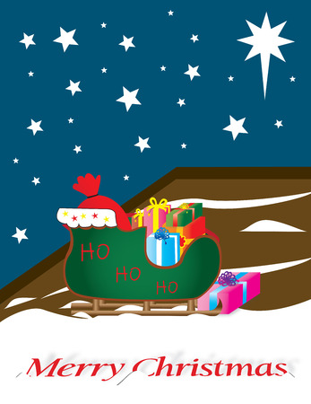 santa sleigh: Santa sleigh full of gifts, outside,