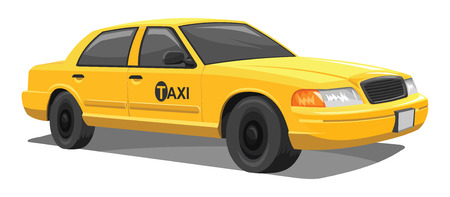 western script: Vector illustration of yellow taxi on white background.