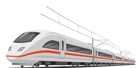 railway transports: Vector illustration of bullet train with cable. Illustration
