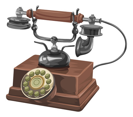 rotary dial: Vector illustration of an old telephone with rotary dial.