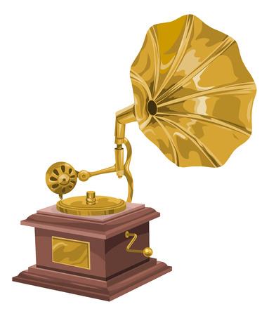 Vector illustration of gramophone.