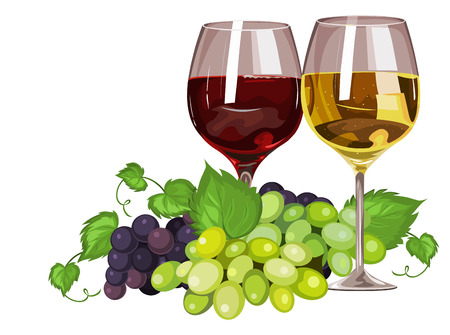 Vector illustration of wine glass and grapes. Vettoriali