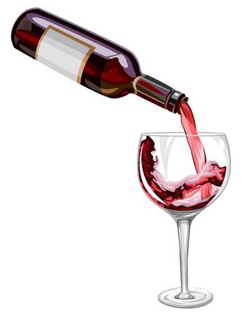 ベクトル図の赤ワインがグラスに注がれています。