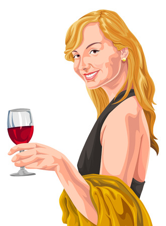 Vector illustration of woman holding red wineglass.