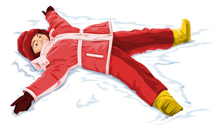 outstretched: Vector illustration of snow angel boy.