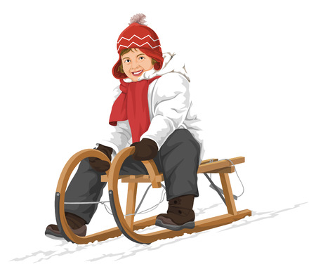 Vector illustration of happy woman riding on a sleigh. Illustration