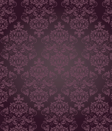 Vintage background with ornate elegant retro abstract floral design, royal purple flowers and leaves on dark purple background. Vector illustration.
