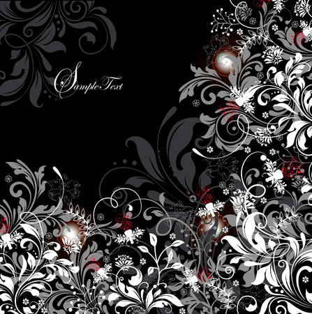 Vintage invitation card with ornate elegant retro abstract floral design, red white and gray flowers and leaves on black background. Vector illustration.