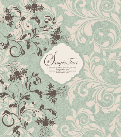 brownish: Vintage invitation card with ornate elegant retro abstract floral design, brownish gray and pale yellow flowers and leaves on snowy mint green background. Vector illustration.