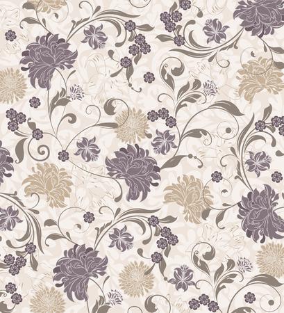 flower patterns: Fondo de la vendimia con dise�o retro elegante adornado abstracto floral, flores grises y de color caqui y hojas sobre fondo carne. Ilustraci�n del vector.