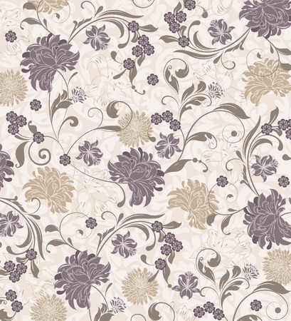 Vintage background with ornate elegant retro abstract floral design, gray and khaki flowers and leaves on flesh background. Vector illustration. Vettoriali