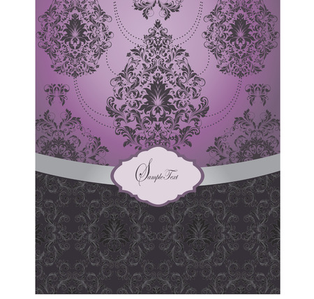 Vintage invitation card with ornate elegant retro abstract floral design, black and gray flowers and leaves on purple and black background with gray ribbon. Vector illustration.