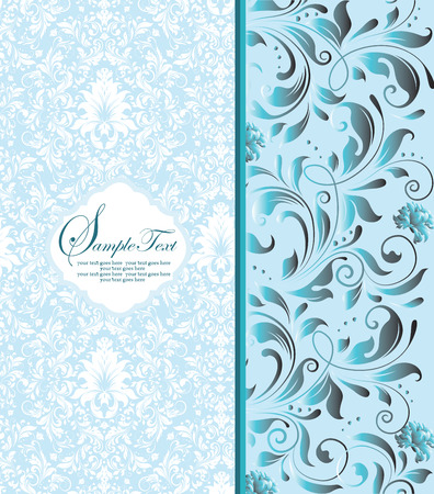 Vintage invitation card with ornate elegant retro abstract floral design, gray and light blue flowers and leaves on pale blue and white background. Vector illustration.