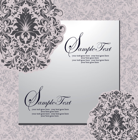 gray: Vintage invitation card with ornate elegant retro abstract floral design, dark gray flowers and leaves on light gray background with frame. Vector illustration.