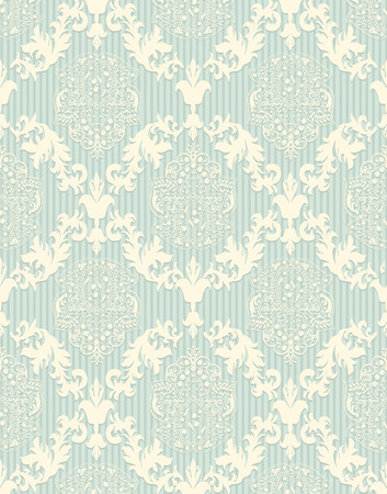 pale green: Vintage background with ornate elegant retro abstract floral design, pale yellow flowers and leaves on pale green background with stripes. Vector illustration. Illustration