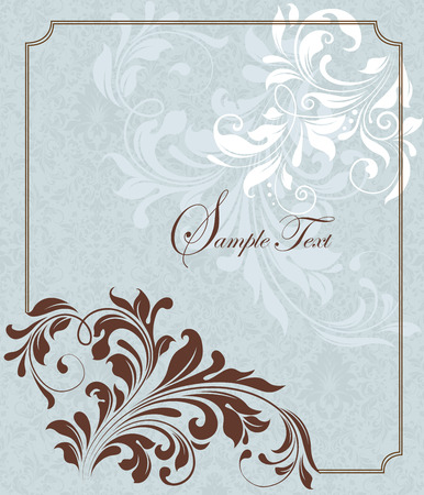 Vintage invitation card with ornate elegant retro abstract floral design, chocolate brown flowers and leaves on pale aquamarine green and white background with frame border. Vector illustration. Illustration
