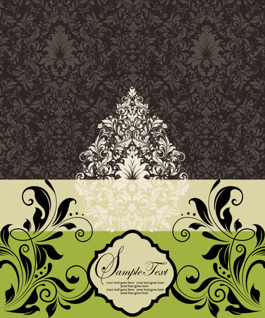 pale yellow: Vintage invitation card with ornate elegant retro abstract floral design, brown white and black flowers and leaves on dark brown pale yellow green background. Vector illustration. Illustration