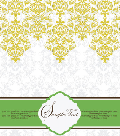 Vintage invitation card with ornate elegant retro abstract floral design, saffron yellow flowers and leaves on white background with green ribbon label. Vector illustration.