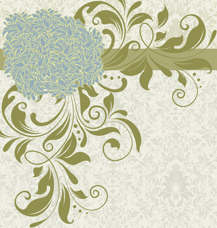 manatee: Vintage background with ornate elegant retro abstract floral design, manatee blue and olive green flowers and leaves on faded green and white background with ribbon. Vector illustration.