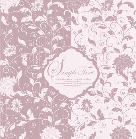 Vintage invitation card with ornate elegant retro abstract floral design, pale pastel purple and white flowers and leaves on striped background. Vector illustration.