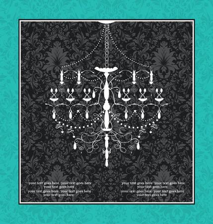 chandelier background: Vintage invitation card with ornate elegant retro abstract floral design, gray flowers and leaves on black background on aquamarine green background with chandelier and frame borderl. Vector illustration. Illustration